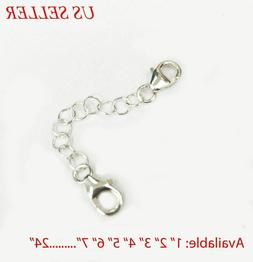 925 Solid Sterling Silver Round Link Extender Safety Chain N